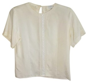 Casual Corner Embellished Front Back Keyhole One Button Closure Silk Versatile Top Cream