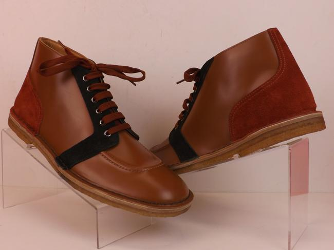 Item - Multicolor 2tg120 Brown Leather Navy Suede Lace Up Chukka Boots 6 Us 7 Italy Shoes