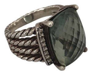 David Yurman Wheaton ring with prasiolite and diamond