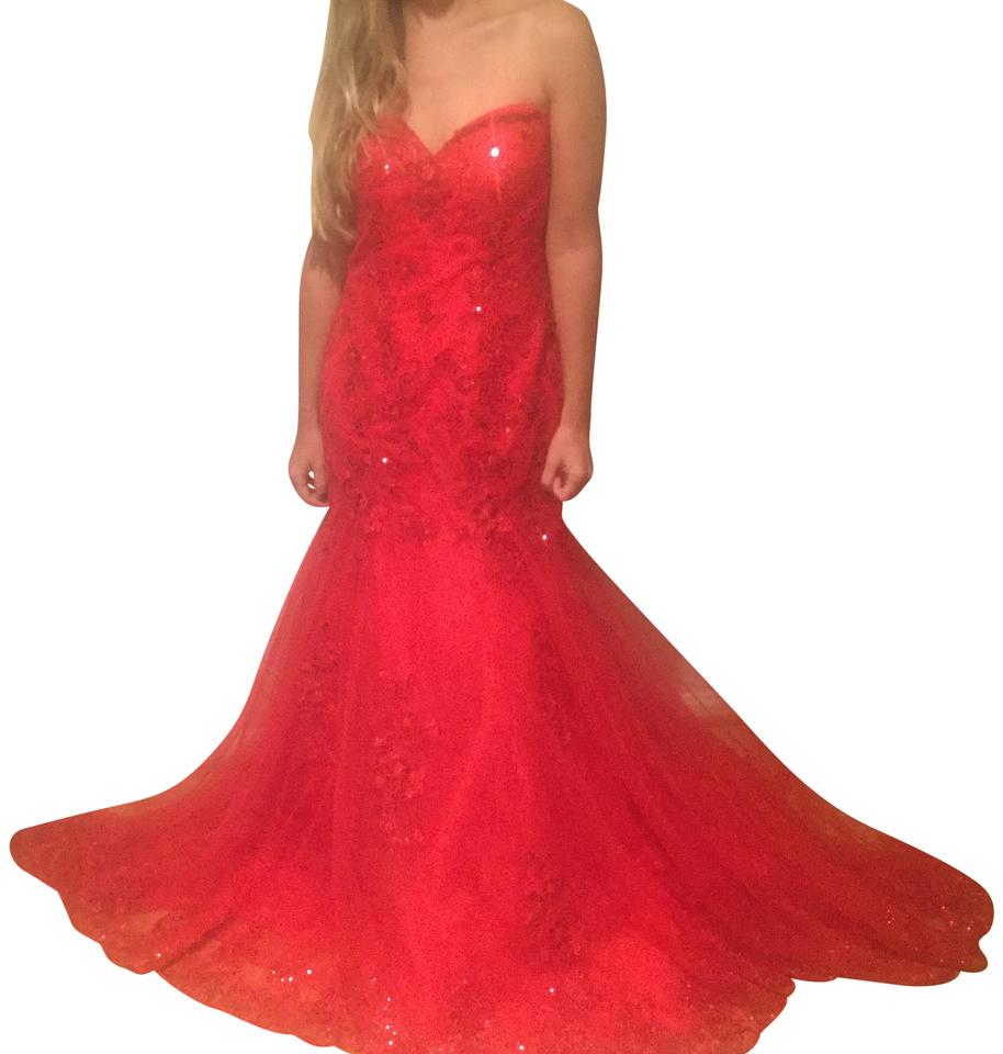 Red Gown with A Train Tule Long Formal Dress Size 14 (L) - Tradesy