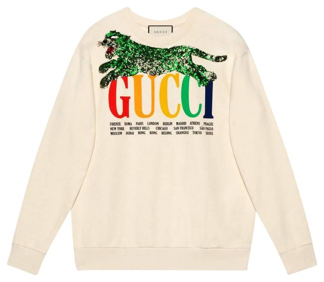 Item - White Oversize with Cities and Tiger Sweatshirt/Hoodie Size 8 (M)