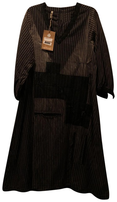 Item - Black White Pinstripes Cotton Sorrell Sunfading Wool Patches and Trim Mid-length Casual Maxi Dress Size OS (one size)