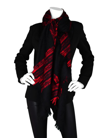 Saint Laurent YSL Vintage Red/Black Jacquard Plaid Floral Wool Blanklet Scarf