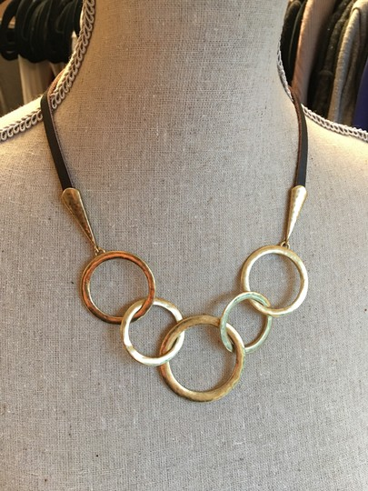 Lucky Brand Multiring leather and gold necklace