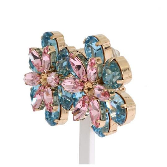 Dolce&Gabbana D1102 Women's Gold Brass Floral Crystal Large Clip on Earrings