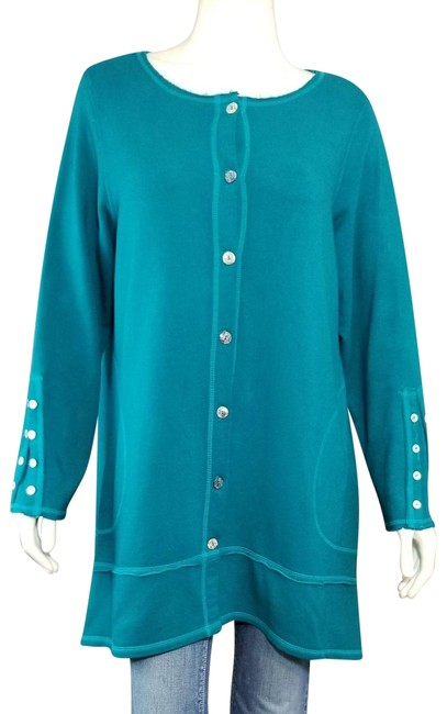 Color Me Cotton CLICK Teal Green Art-to-wear Boho Button-up French Terry Stretch Duster Coat Size 16 (XL, Plus 0x) Color Me Cotton CLICK Teal Green Art-to-wear Boho Button-up French Terry Stretch Duster Coat Size 16 (XL, Plus 0x) Image 1