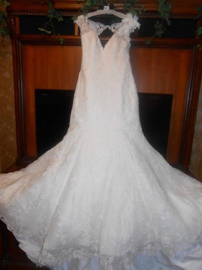 Allure Bridals New Ivory Lace Appliques/Organza C287 Modern Wedding Dress Size 14 (L)