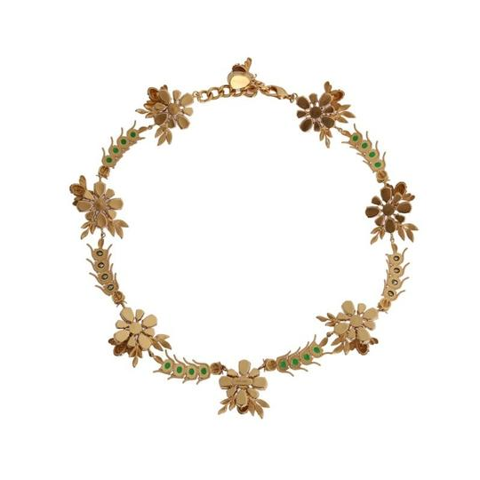 Dolce&Gabbana D1061 Women's Gold Brass Crystal Floral Insect Fly Necklace (One Size)