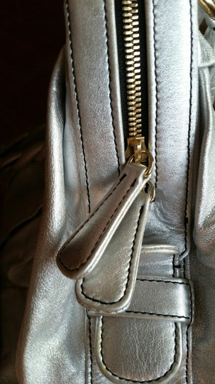 Valentino Nappa Leather Braided Satchel in Ice Silver