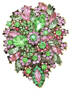 Multicolor Pink Flower Crystal Brooch Pendant Mothers Day Wedding Bridal Gift SET