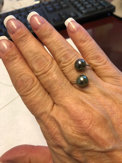 French jewelry Tahitian pearl set necklace and ring