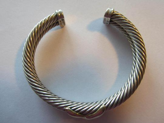 David Yurman Double Row Cable Bracelet with Gold X Image 3