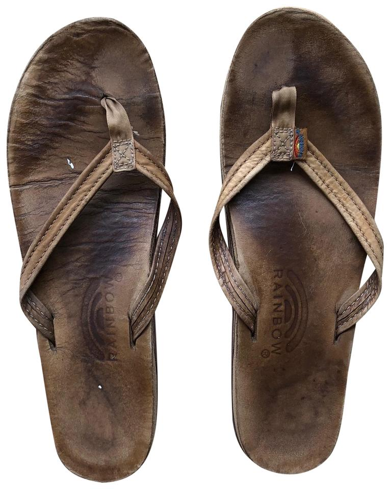 eac9d7c43 Rainbow Sandals Brown Leather Thin Strap Sandals Size US 9 Regular ...