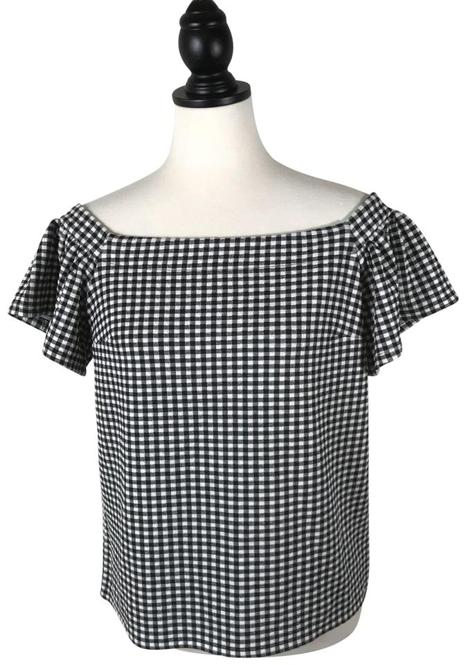 056c7935f38 Express Gingham Off Shoulder Ruffle Sleeve Blouse Size 8 (M) - Tradesy