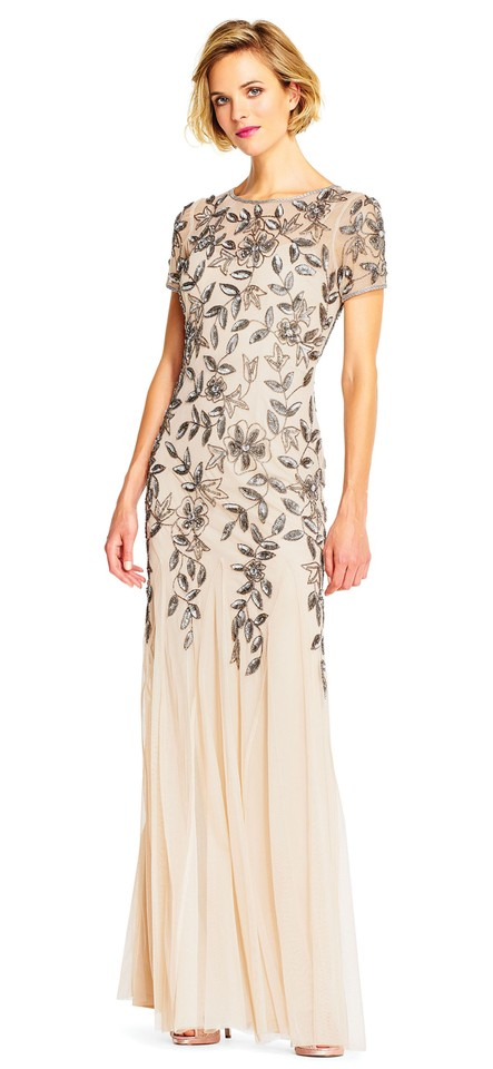 Adrianna Papell Taupe Pink Beaded Godet Gown Short Sleeves Long ...