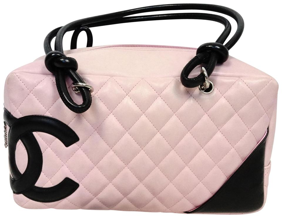 fab8533f6461 Chanel Cambon Cc Double Bowling Handbag Pink Black and White Lambskin  Leather Shoulder Bag