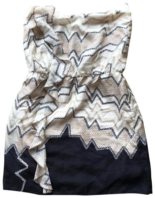 Item - Black and Tan Strapless Ruffle Short Casual Dress Size 4 (S)