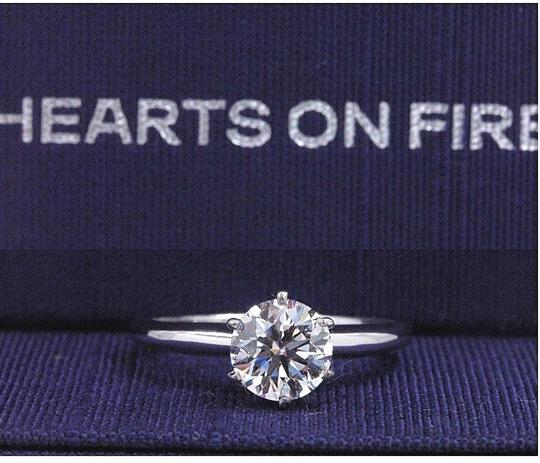 Hearts on Fire F Vs2 Ideal Cut Round Diamond 1.03 Ct 14k White Gold Engagement Ring Image 1