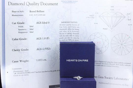 Hearts on Fire F Vs2 Ideal Cut Round Diamond 1.03 Ct 14k White Gold Engagement Ring Image 2