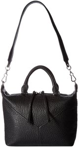 Vince Camuto Pebbled Leather Top Zip Top Handle Satchel in Black