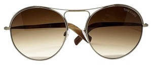 Tom Ford Round Unisex Sunglasses with Metal Frame Brown Gradient Lens