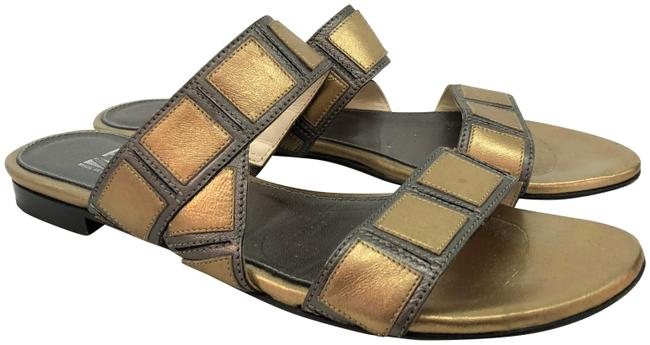 Item - Gold Metallic Double Strap Sandals Size US 7.5 Narrow (Aa, N)