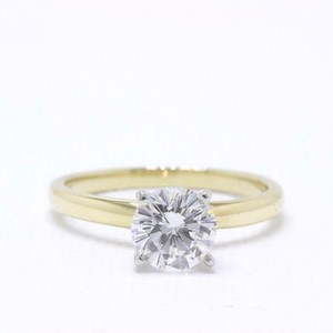 H Vs2 Diamond Solitaire Round 0.99 Cts 14k Yellow Gold Engagement Ring