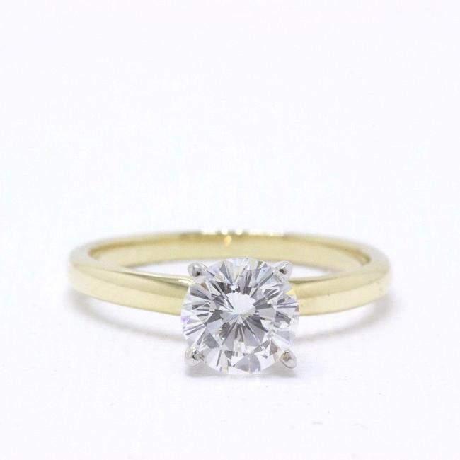 Item - H Vs2 Solitaire Round 0.99 Cts 14k Yellow Gold Engagement Ring