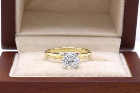 H Vs2 Diamond Solitaire Round 0.99 Cts 14k Yellow Gold Engagement Ring Image 6