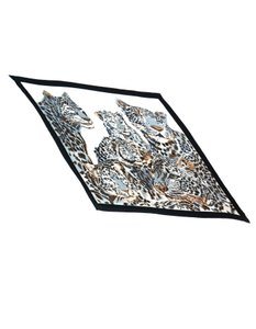 Hermès Leopard Cat Print Plisse Pleated Scarf