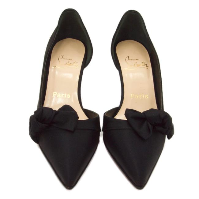 Item - Black Satin With Bow Evening Pumps Formal Shoes Size EU 37.5 (Approx. US 7.5) Regular (M, B)