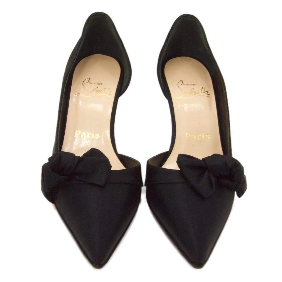 48be5701092 Christian Louboutin Black Satin With Bow Evening Pumps Formal Shoes Size EU  37.5 (Approx. US 7.5) Regular (M, B) 27% off retail