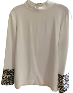 Club Monaco Top White with leopard sleeves at bottom of sleeves