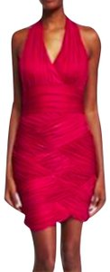 Halston Hot Pink Bodycon Bandage Backless Halter Dress