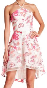 Alexia Admor short dress Pink Floral Embroidery Halter Tie Neck Concealed Back Zip High Low Hem Super on Tradesy