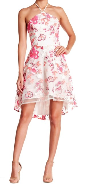 Alexia Admor short dress Pink Floral Embroidery Halter Tie Neck Concealed Back Zip High Low Hem Super on Tradesy Image 1
