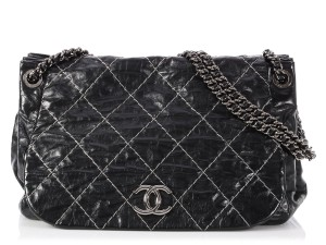 Chanel Ch.p0906.01 Ruthenium Cc Distressed Flap Tote in Black