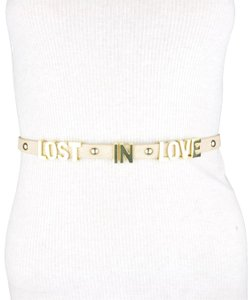 BCBGeneration BCBG Lost In Love Faux Leather Beige Gold Belt