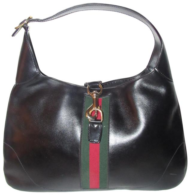 Item - Shoulder Jackie Style with Red/Green Sherry Black W Red/Green Stripe Leather Hobo Bag