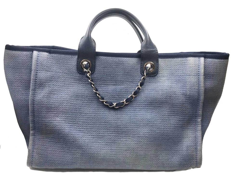 4f2bf9d48d2c Chanel Deauville Large Navy Canvas Leather Tote - Tradesy