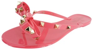 Valentino Rockstud Jelly Rubber Thong Bow Pink Sandals