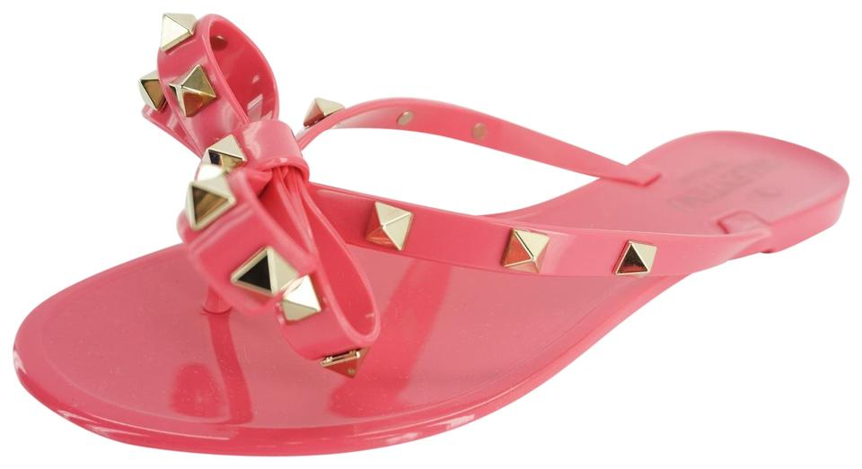 8a9daaee2 Valentino Pink Rockstud Rubber Jelly Bow Pvc Thong Flip Flop Sandals ...
