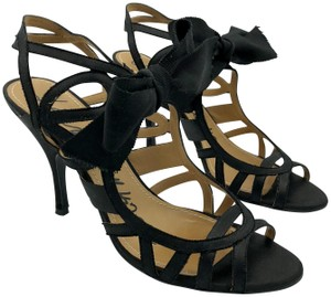 Lanvin Strappy Stiletto Satin Black Sandals