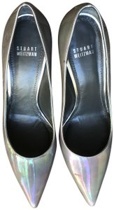 "Stuart Weitzman Patent Leather Heel Height 4"" Grey Pumps"