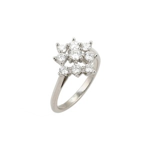 Tiffany & Co. Diamond Platinum Floral Cluster Ring