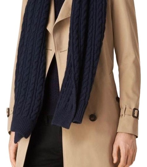 Preload https://img-static.tradesy.com/item/24072404/burberry-navy-wool-cashmere-cable-knit-scarfwrap-0-1-540-540.jpg