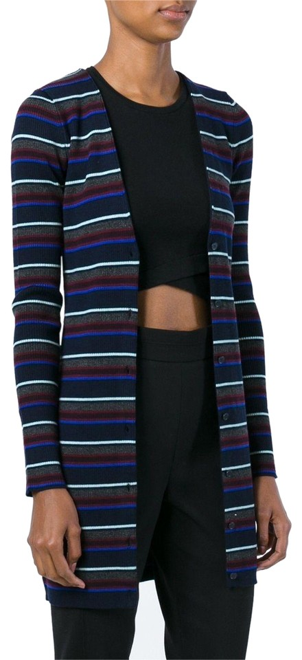 f489c6870c0760 T by Alexander Wang Multicolor Striped Merino Wool Fitted Cardigan ...