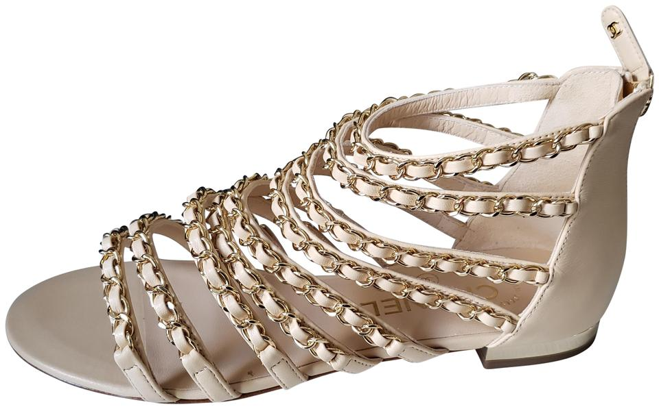 6180c261e Chanel Beige 18p Leather Strappy Chain Gladiator Flat Sandals Size ...