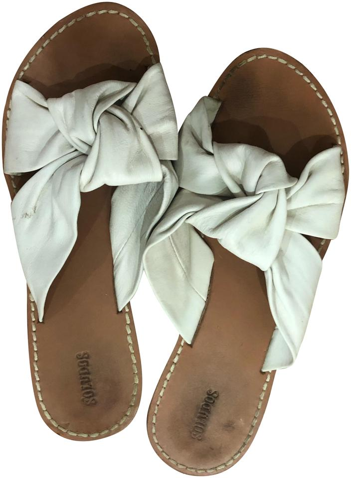 d809be35dd5 Soludos White Leather Bow Sandals Size US 8 Regular (M