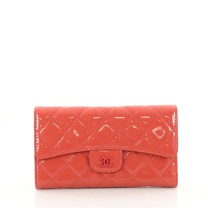 Chanel L-Flap Wallet Quilted Patent Long